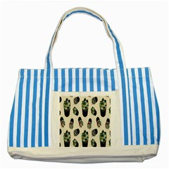 Succulent Plants Pattern Lights Striped Blue Tote Bag