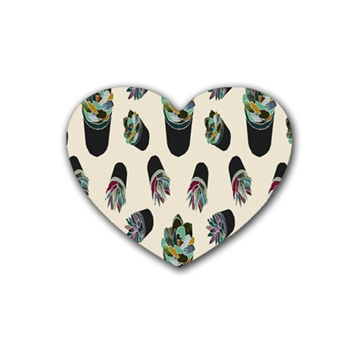 Succulent Plants Pattern Lights Heart Coaster (4 pack)