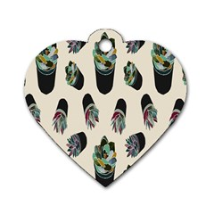 Succulent Plants Pattern Lights Dog Tag Heart (one Side)