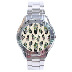 Succulent Plants Pattern Lights Stainless Steel Analogue Watch