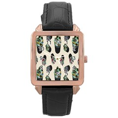 Succulent Plants Pattern Lights Rose Gold Leather Watch