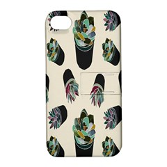 Succulent Plants Pattern Lights Apple iPhone 4/4S Hardshell Case with Stand
