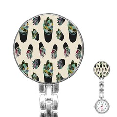 Succulent Plants Pattern Lights Stainless Steel Nurses Watch
