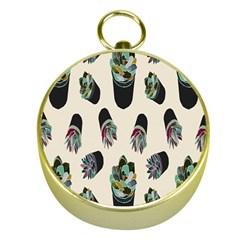 Succulent Plants Pattern Lights Gold Compasses