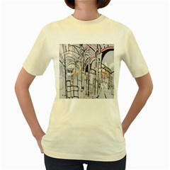 Cityscapes England London Europe United Kingdom Artwork Drawings Traditional Art Women s Yellow T Shirt