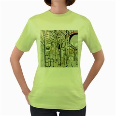 Cityscapes England London Europe United Kingdom Artwork Drawings Traditional Art Women s Green T-Shirt