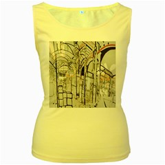 Cityscapes England London Europe United Kingdom Artwork Drawings Traditional Art Women s Yellow Tank Top