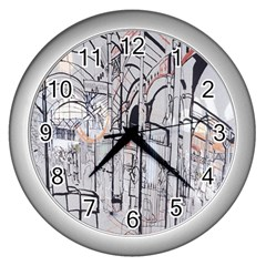 Cityscapes England London Europe United Kingdom Artwork Drawings Traditional Art Wall Clocks (silver)