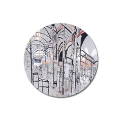 Cityscapes England London Europe United Kingdom Artwork Drawings Traditional Art Magnet 3  (Round)