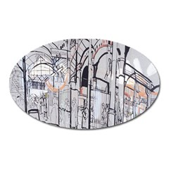 Cityscapes England London Europe United Kingdom Artwork Drawings Traditional Art Oval Magnet