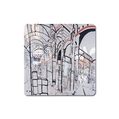 Cityscapes England London Europe United Kingdom Artwork Drawings Traditional Art Square Magnet