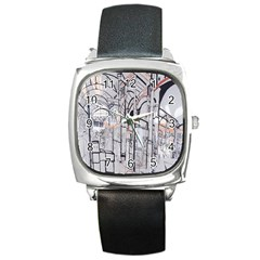 Cityscapes England London Europe United Kingdom Artwork Drawings Traditional Art Square Metal Watch