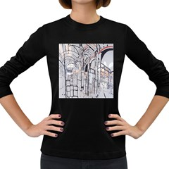 Cityscapes England London Europe United Kingdom Artwork Drawings Traditional Art Women s Long Sleeve Dark T-Shirts