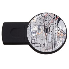 Cityscapes England London Europe United Kingdom Artwork Drawings Traditional Art USB Flash Drive Round (4 GB)