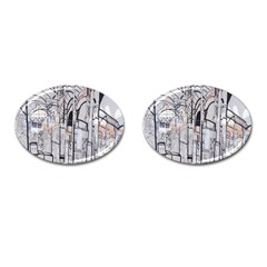 Cityscapes England London Europe United Kingdom Artwork Drawings Traditional Art Cufflinks (Oval)