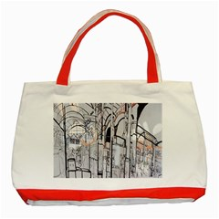 Cityscapes England London Europe United Kingdom Artwork Drawings Traditional Art Classic Tote Bag (red)