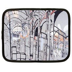 Cityscapes England London Europe United Kingdom Artwork Drawings Traditional Art Netbook Case (large)