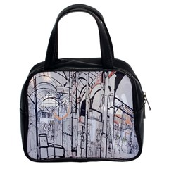 Cityscapes England London Europe United Kingdom Artwork Drawings Traditional Art Classic Handbags (2 Sides)