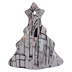 Cityscapes England London Europe United Kingdom Artwork Drawings Traditional Art Christmas Tree Ornament (two Sides)