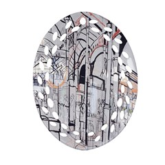 Cityscapes England London Europe United Kingdom Artwork Drawings Traditional Art Oval Filigree Ornament (Two Sides)