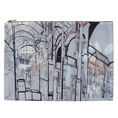 Cityscapes England London Europe United Kingdom Artwork Drawings Traditional Art Cosmetic Bag (XXL)