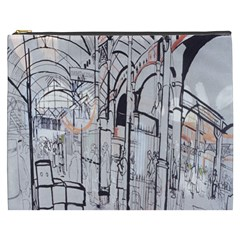 Cityscapes England London Europe United Kingdom Artwork Drawings Traditional Art Cosmetic Bag (XXXL)