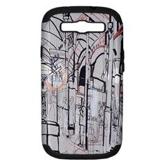 Cityscapes England London Europe United Kingdom Artwork Drawings Traditional Art Samsung Galaxy S III Hardshell Case (PC+Silicone)