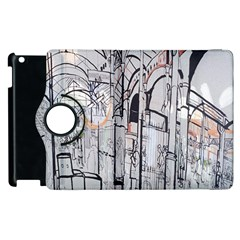 Cityscapes England London Europe United Kingdom Artwork Drawings Traditional Art Apple Ipad 2 Flip 360 Case
