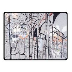Cityscapes England London Europe United Kingdom Artwork Drawings Traditional Art Double Sided Fleece Blanket (Small)