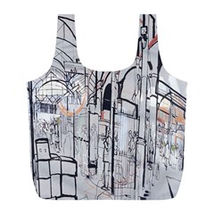 Cityscapes England London Europe United Kingdom Artwork Drawings Traditional Art Full Print Recycle Bags (L)