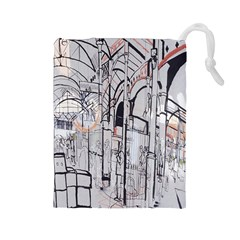 Cityscapes England London Europe United Kingdom Artwork Drawings Traditional Art Drawstring Pouches (Large)