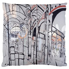 Cityscapes England London Europe United Kingdom Artwork Drawings Traditional Art Large Flano Cushion Case (Two Sides)