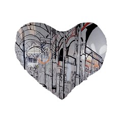 Cityscapes England London Europe United Kingdom Artwork Drawings Traditional Art Standard 16  Premium Flano Heart Shape Cushions