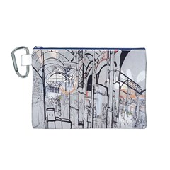 Cityscapes England London Europe United Kingdom Artwork Drawings Traditional Art Canvas Cosmetic Bag (M)