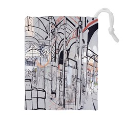 Cityscapes England London Europe United Kingdom Artwork Drawings Traditional Art Drawstring Pouches (extra Large)