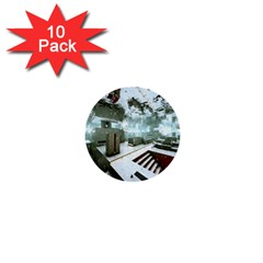 Digital Art Paint In Water 1  Mini Buttons (10 Pack)