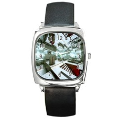 Digital Art Paint In Water Square Metal Watch