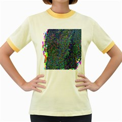 Glitch Art Women s Fitted Ringer T-Shirts