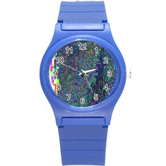 Glitch Art Round Plastic Sport Watch (s)
