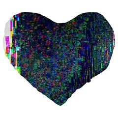 Glitch Art Large 19  Premium Heart Shape Cushions