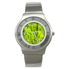 Concept Art Spider Digital Art Green Stainless Steel Watch