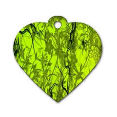Concept Art Spider Digital Art Green Dog Tag Heart (Two Sides)