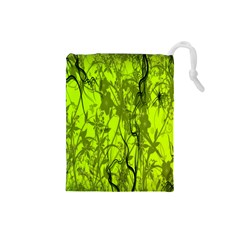 Concept Art Spider Digital Art Green Drawstring Pouches (Small)