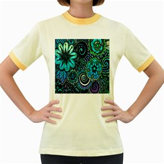 Sun Set Floral Women s Fitted Ringer T-Shirts