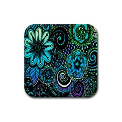 Sun Set Floral Rubber Square Coaster (4 pack)