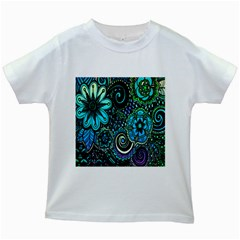 Sun Set Floral Kids White T-Shirts