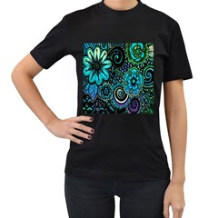 Sun Set Floral Women s T Shirt (black) (two Sided)