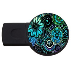 Sun Set Floral Usb Flash Drive Round (4 Gb)