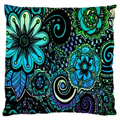 Sun Set Floral Large Flano Cushion Case (One Side)