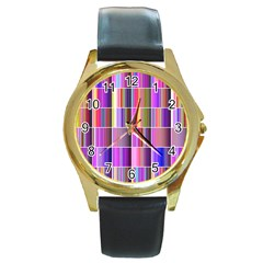Plasma Gradient Gradation Round Gold Metal Watch
